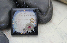 Blue words pendant